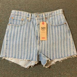 Levi's Shorts - Levis 501 High Rise wide stripe shorts